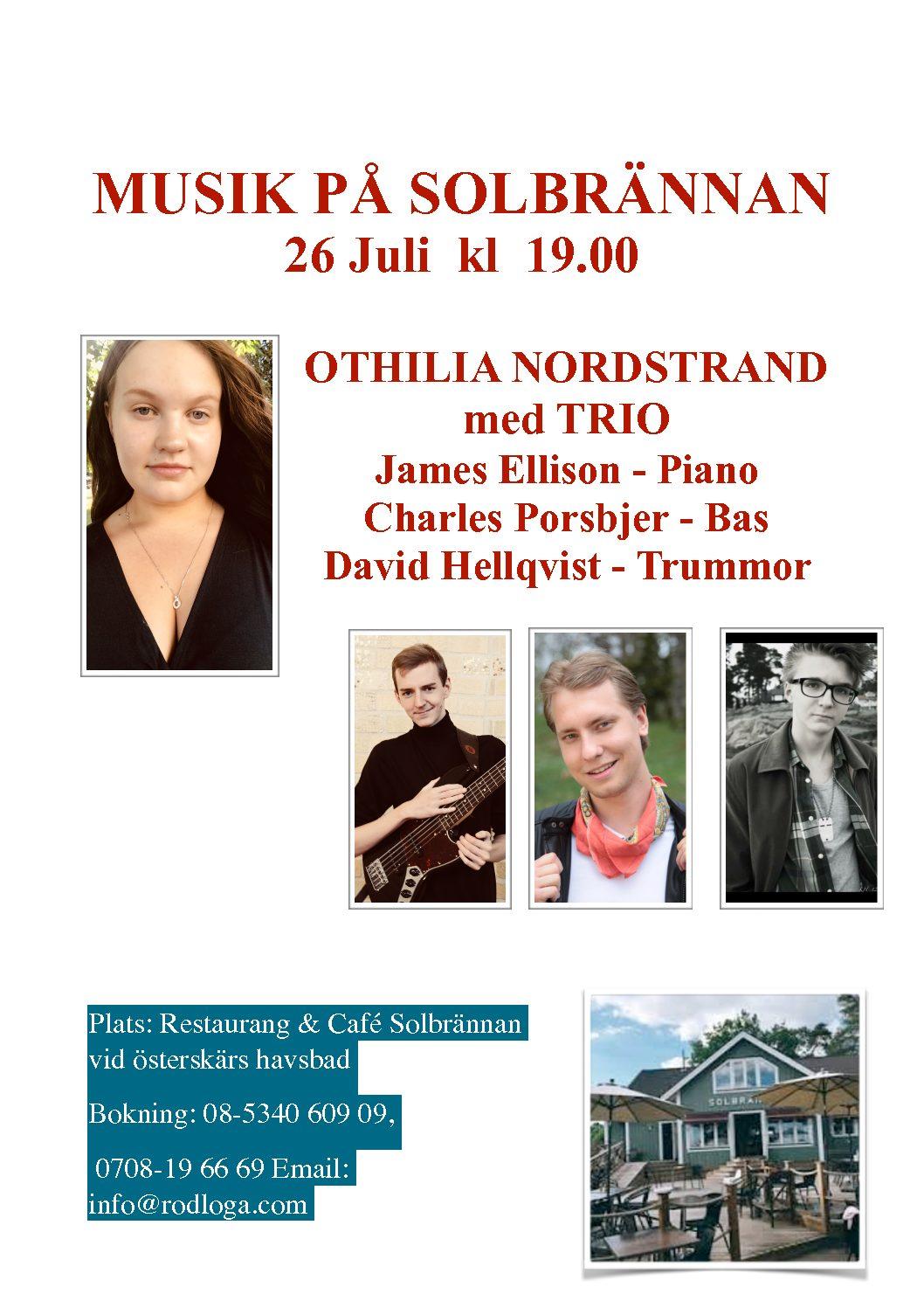 Grillkväll 26 juli: Othilia Nordstrand med TRIO